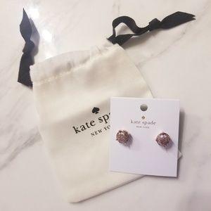 Kate Spade Rose Gold Glitter Gumdrop Studs NWT